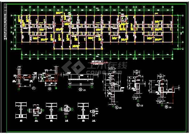 某综合楼框架结构cad施工图(全套)-图1