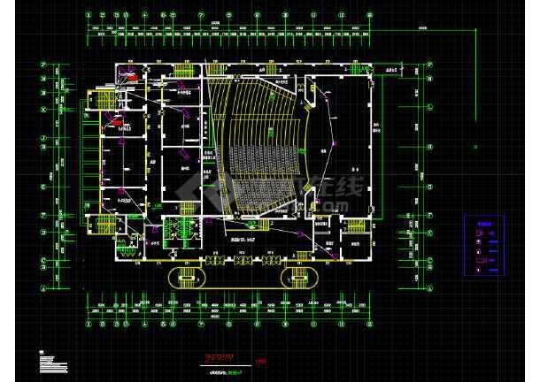 某地青少年宫剧场建筑设计平面方案图-图1