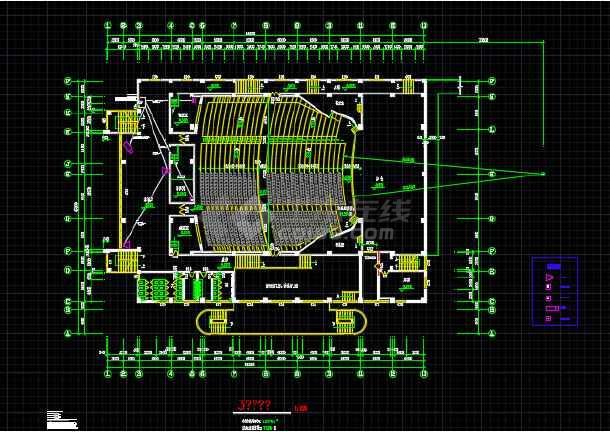 某地青少年宫剧场建筑设计平面方案图-图2