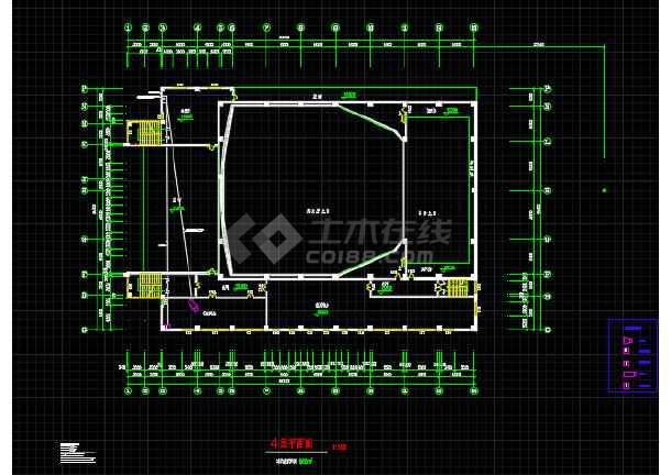 某地青少年宫剧场建筑设计平面方案图-图3