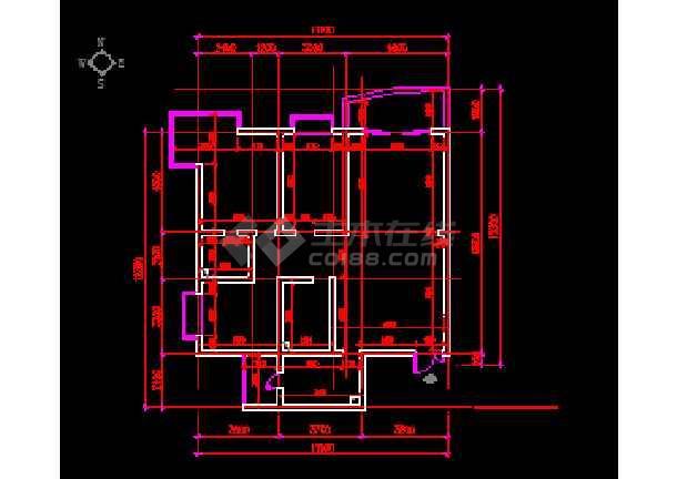 某两居室户型室内家装设计cad平面施工图纸-图2