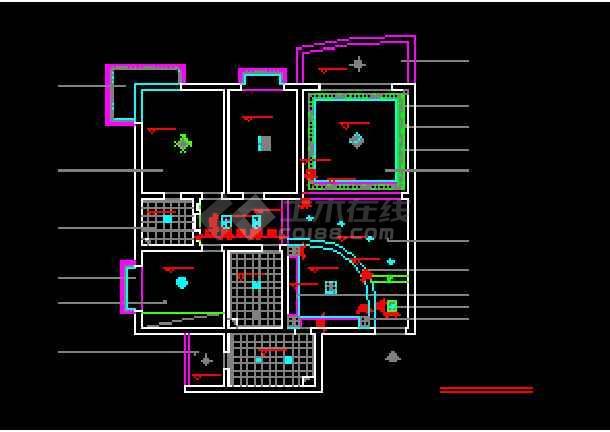 某两居室户型室内家装设计cad平面施工图纸-图3