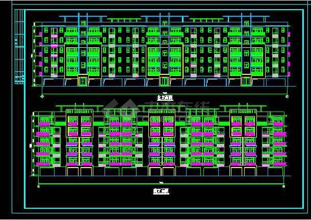 [北京]某个多层住宅楼建筑设计平立面cad施工图纸-图2