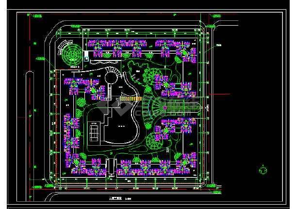 [南京]某个高层住宅小区平面绿化规划设计cad施工图-图1