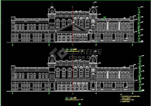 某市欧式酒店建筑cad设计施工平立面图