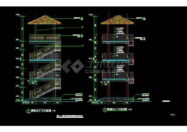 园林景观建筑瞭望塔全套详细图纸-图1