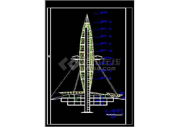 观光塔建筑施工CAD设计方案全套图-图2