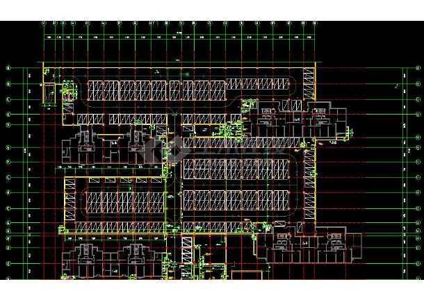 高级地下车库带人防组合cad设计施工图-图1