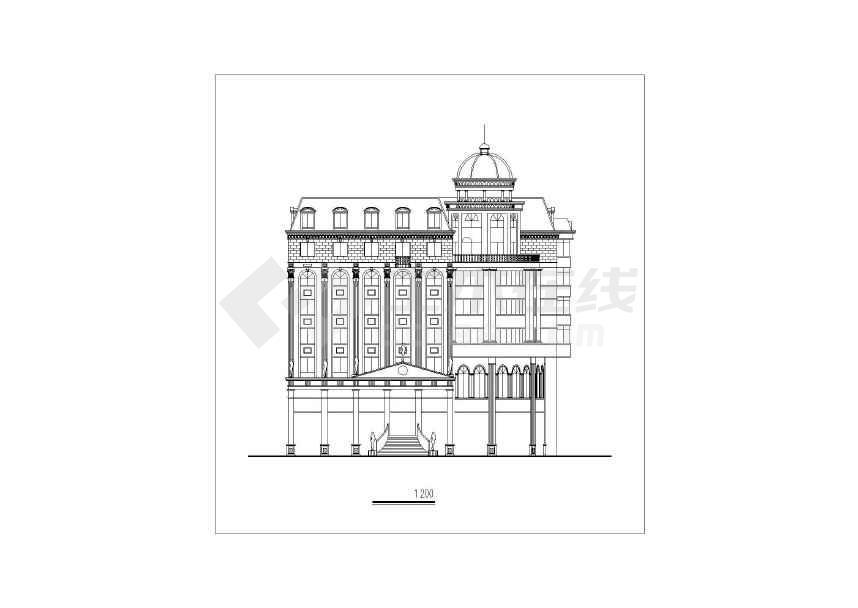 某地小型城市欧式办公楼建筑方案设计图