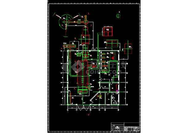 某工厂10t燃煤锅炉房整套平面cad设计图、流程图-图2