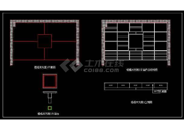 榻榻米设计CAD图纸带效果图3套