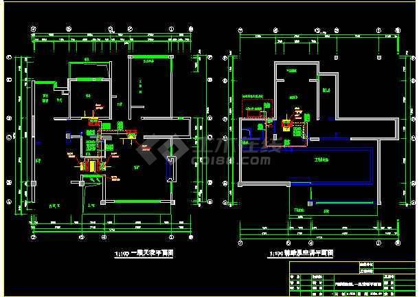 某市高端DF户型别墅空调施工平面图-图1