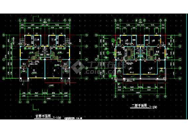 别墅F型建筑设计方案全套CAD图纸-图3