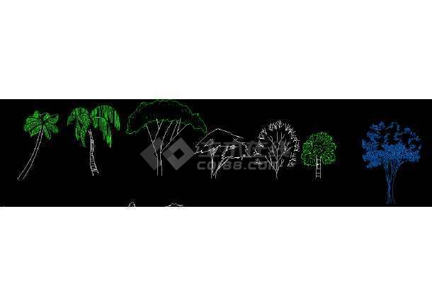 部分多种景观植物cad立面素材图库-图1
