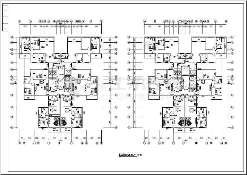 某高层住宅楼防烟排烟施工图纸(标注详细)-图1
