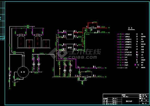 某换热站全套管道系统cad平面设计施工图纸-图3