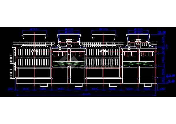 某地4乘以2000吨大型冷却塔cad详细设计施工图纸-图1