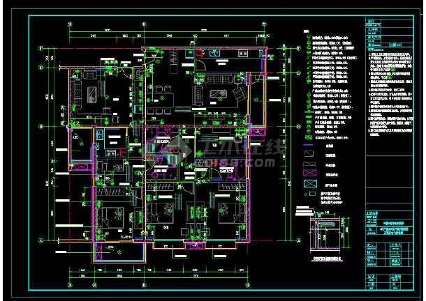 南京某地两居室高层住宅楼室内装修cad平面施工图-图1