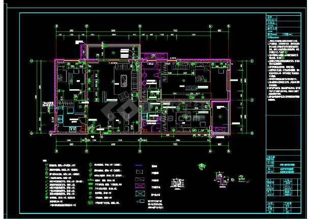 南京某地两居室高层住宅楼室内装修cad平面施工图-图2