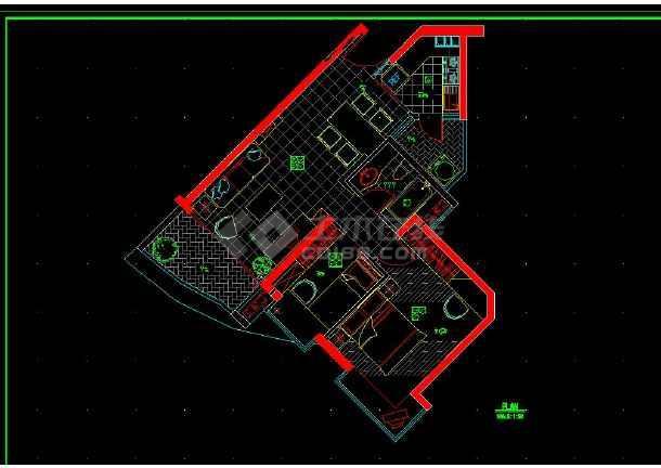 南京某地某小两居户型室内装修cad施工图-图1