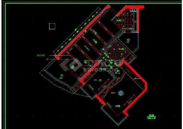 南京某地某小两居户型室内装修cad施工图-图2