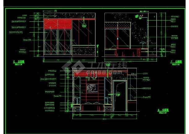 南京某地某小两居户型室内装修cad施工图-图3