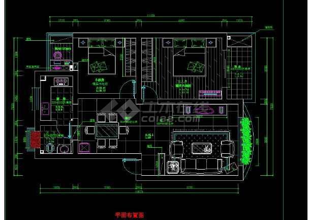 南京某地某小区经典两居室室内装修cad方案施工图-图1