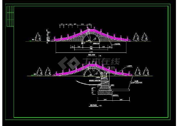 仿古典石桥整套详细cad建筑设计施工图-图3