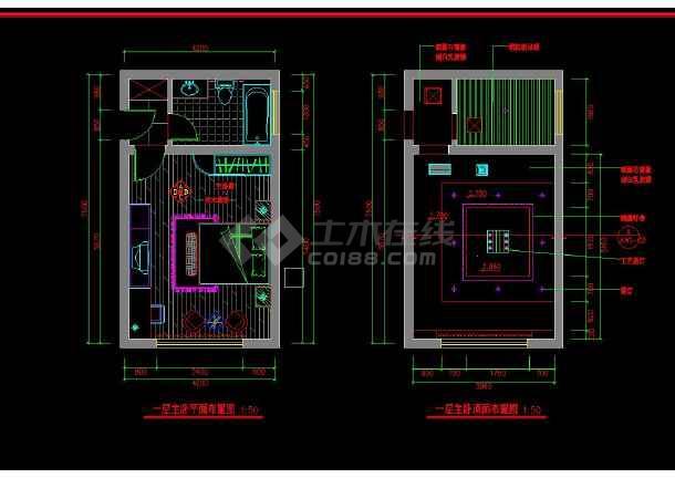 南京某地两套简单室内家装设计cad方案图-图1