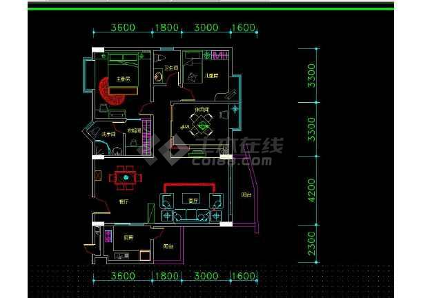南京某地两居户型住宅室内装修cad平面施工图-图2