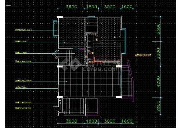 南京某地两居户型住宅室内装修cad平面施工图-图3