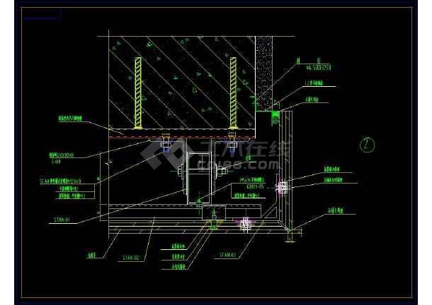 背栓式干挂石材装修cad设计详细大样施工图_cad图纸