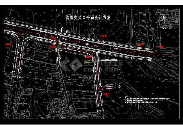 沟路交叉口平面设计cad方案施工图-图1