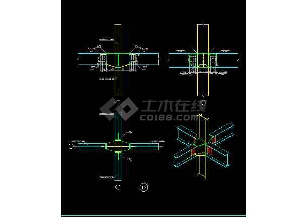 某钢结构三维节点cad结构图大全