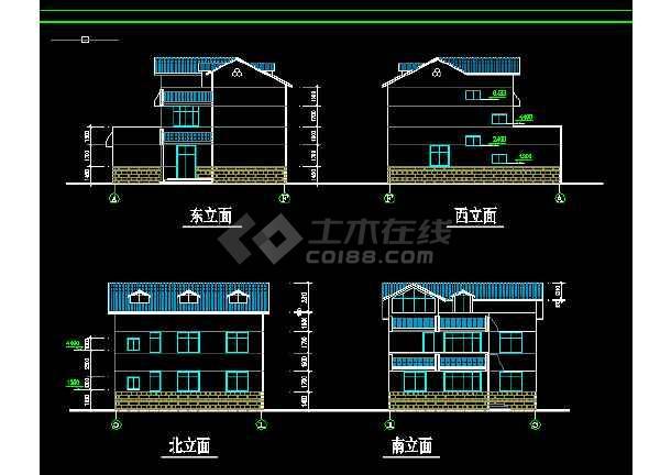 乡村别墅建筑方案施工设计全套CAD图纸-图3