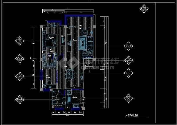 某经典二居住宅室内设计cad装修图-图1