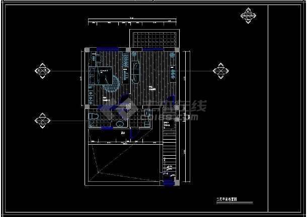 某经典二居住宅室内设计cad装修图-图2