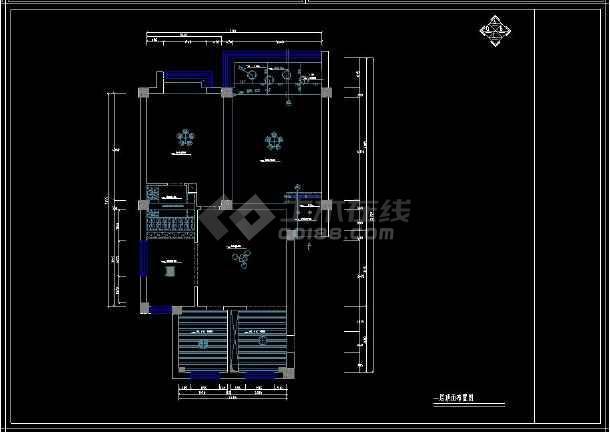 某经典二居住宅室内设计cad装修图-图3