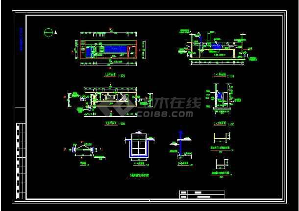 某污水厂紫外消毒渠工艺图-图1