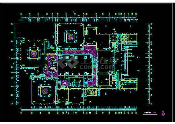 某市文化娱乐中心平面建筑CAD设计施工图-图3