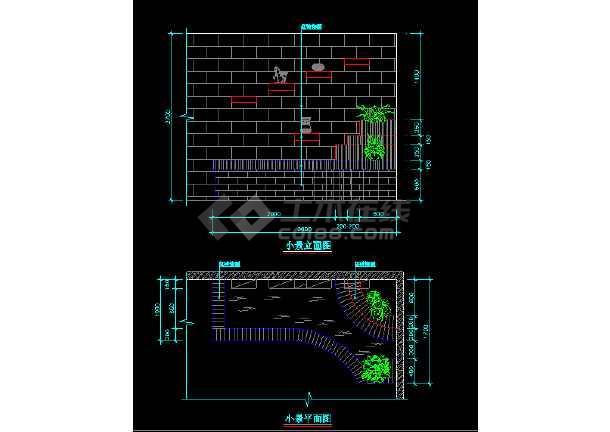 部分室内小造景观cad平面设计施工图-图3