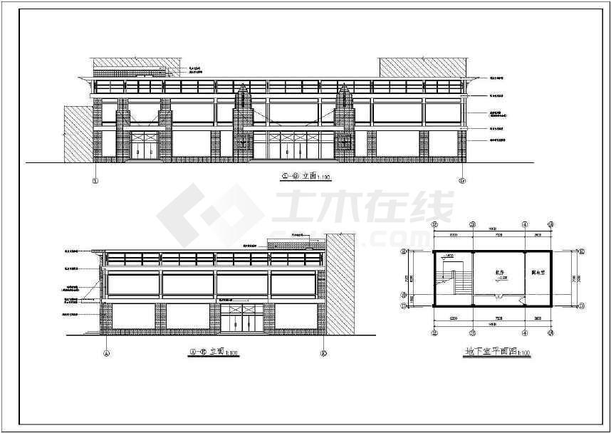 某地小型胶圈建筑设计cad图(共9张)模具设计画法槽的超市图片