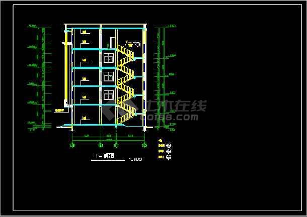 四层框架办公楼建筑结构施工设计cad方案图纸