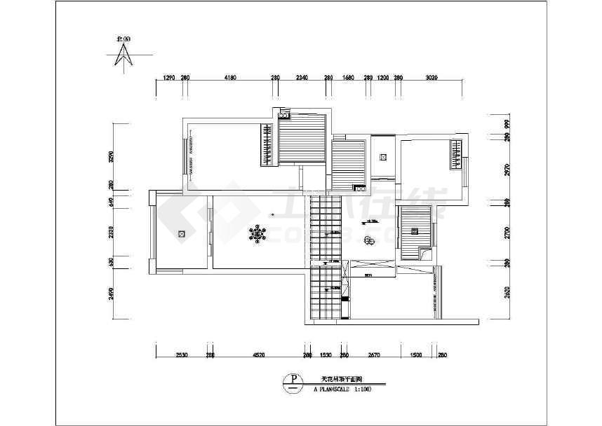 室内家具布置cad平面设计图(共两张)-图1