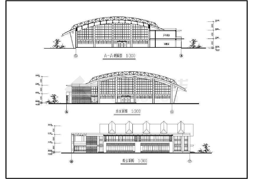 某地学校小型体育馆建筑设计施工方案图