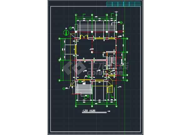 南京某地欧式错层别墅CAD施工图-图1