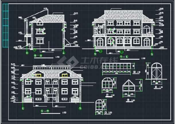 南京某地欧式错层别墅CAD施工图-图2