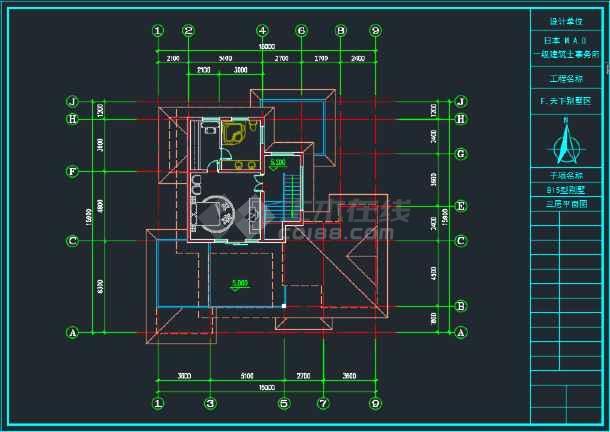 三层日式别墅全套建筑CAD施工图-图2