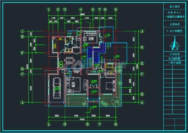 三层日式别墅全套建筑CAD施工图-图3