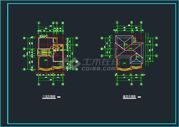 北京某地三层别墅CAD设计施工图-图2